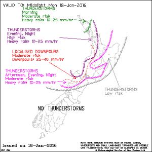MetService T-storm Outlook map - Jan 18